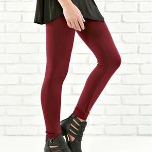 Pants - Burgundy Fleece Lined Leggings
